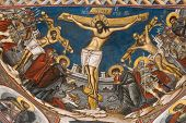 Crucifixion Of Jesus. Icon From Modovita Monastery (Romania)