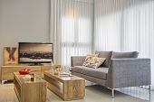 stock photo of home addition  - Luxury Modern Living Room - JPG