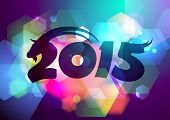 image of goat horns  - Vector 2015 new year design with goat and bokeh - JPG