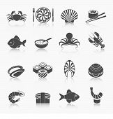 foto of oyster shell  - Seafood fish menu restaurant icons set black with soup octopus crawfish isolated vector illustration - JPG