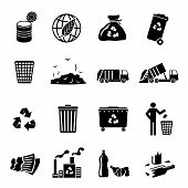 stock photo of garbage bin  - Garbage recycling icons black set of landfill trash truck dump isolated vector illustration - JPG