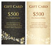 stock photo of charcoal  - Luxury cream christmas gift card with stream of golden snowflakes - JPG