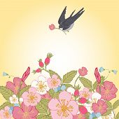 picture of swallow  - Vintage romantic abstract summer flower branches background with swallow bird vector illustration - JPG
