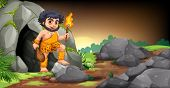 stock photo of caveman  - Illustration of a caveman standing in front of a cave - JPG