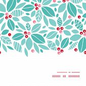 stock photo of holly  - Vector christmas holly berries horizontal frame seamless pattern background graphic design - JPG