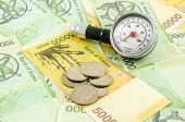 stock photo of won  - South korea Won cash metering meaning financial health check up - JPG