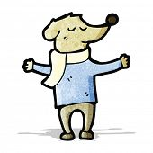 stock photo of dog clothes  - cartoon dog in clothes - JPG