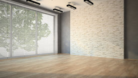 picture of louvers  - Empty room with brick wall and lamps - JPG