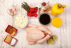 pic of jerks  - jerk chicken cooking ingredients on the white woooden table - JPG