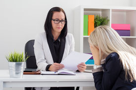 picture of fail job  - Young woman crying in the office - JPG