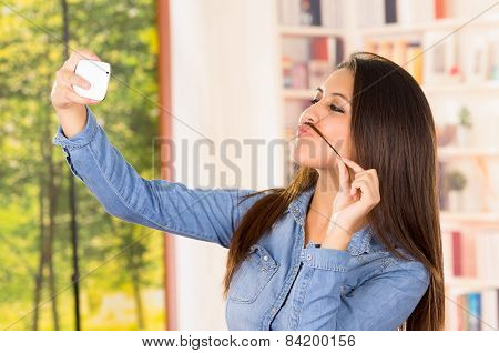 young beautiful girl using cell phone