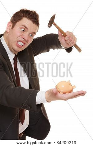 Business Man With Hammer About To Smash Piggy Bank