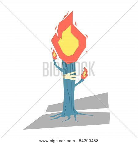 Isolated cartoon blue torch tree light up your day