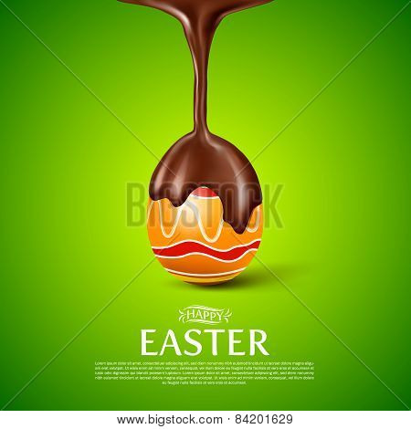 Happy Easter.easter Egg With Melted Chocolate.