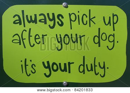 Pick Up Dog Poo Sign