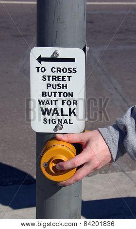 Pushing Button for Walk Signal
