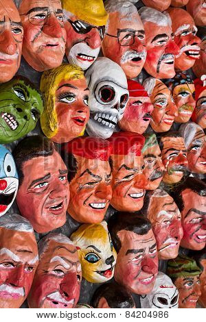 Traditional paper masks for New Year celebration in Ecuador
