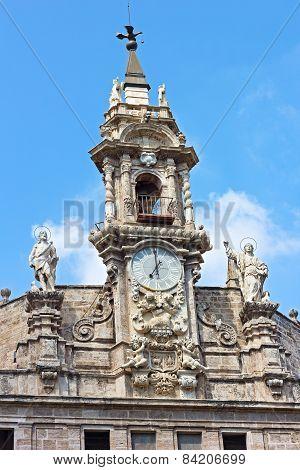 Facade of the Saint John of the Market church in Valencia Spain.