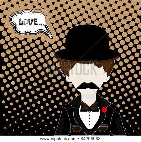 man in hat and retro scratch background,