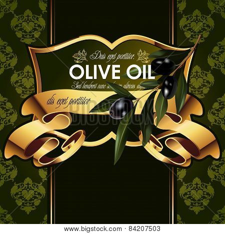 Vector luxury golden decorative design with olive branch.
