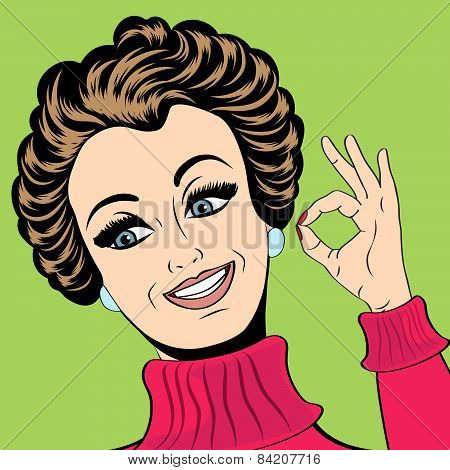 Pop Art Cute Retro Woman In Comics Style Making Ok Sign