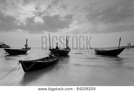 The fishing boat in black and white at Kon Ao Beach Rayong Thailand