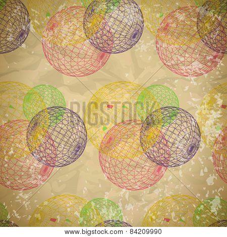 Seamless abstract pattern of faded paper with mesh balls