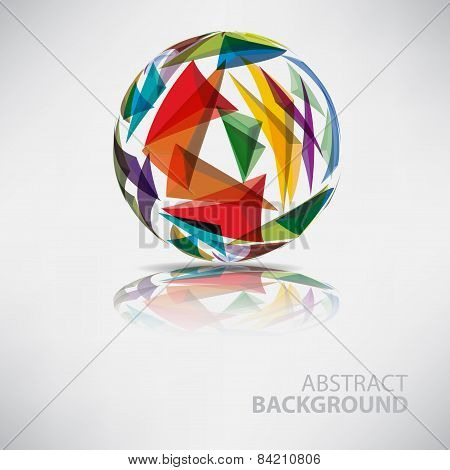 Background of ball with texture triangles with place for text