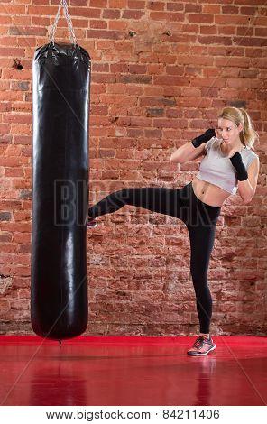Sexy Girl Practicing Kick Boxing