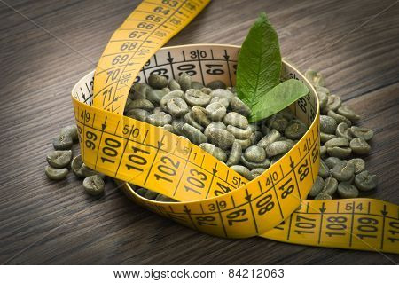 Green Coffee Seeds. Concept Of Lose Weight By Drinking Raw Green Coffee