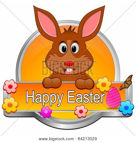 Easter bunny wishing happy easter button