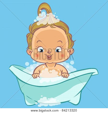 Cute Cartoon Baby In A Bath.vector Illustration