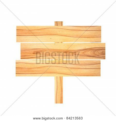Old Wooden Signboard Isolated On White.