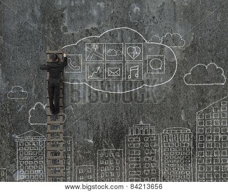 Man Climbing And Drawing Cloud App Icons Doodles