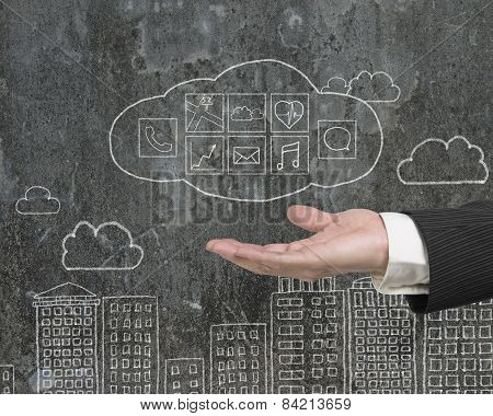 Man Hand Showing Cloud With App Icons Doodles