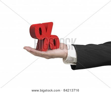 Hand Showing 3D Red Percentage Sign Isolated On White