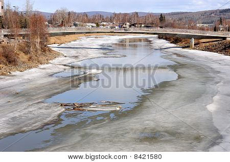 Arctic River Melting during Spring Breakup in Alaska
