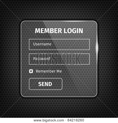 Transparent Login Box On Textured Background