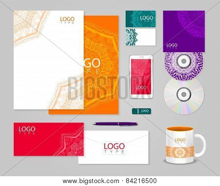 Ethnic corporate identity template with ornament