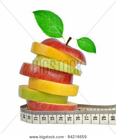 Apple mix with measuring tape