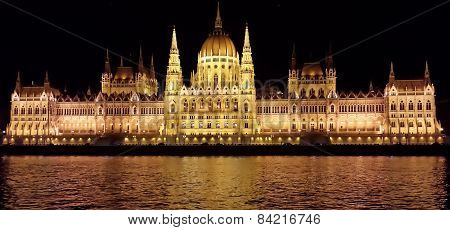 Parliament of Hungary in Budapest by night
