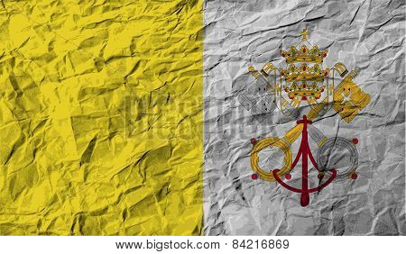 Flag Of Vatican With Old Texture. Vector