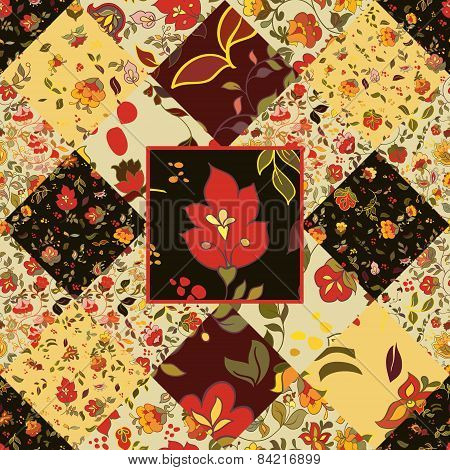 Creative seamless patchwork pattern with flowers. Vintage  style