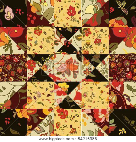 Creative seamless patchwork pattern with flowers.