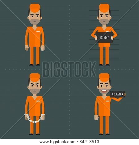 Prisoner in various poses concepts