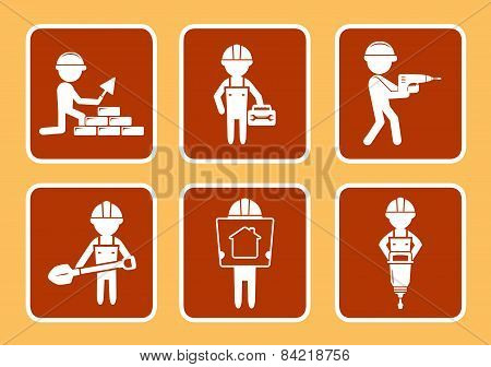 Set Construction Icons With Builders Man
