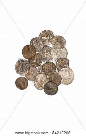 Vintage Bronze Coins On A White Background