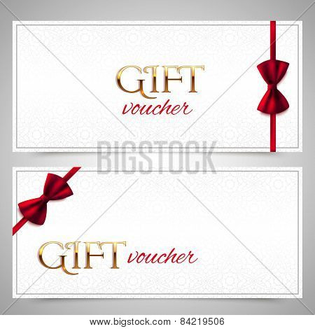 Vector Gift Vouchers With Decorative Red Bows