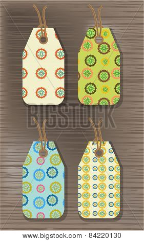 Set of four stickers with seamless pattern
