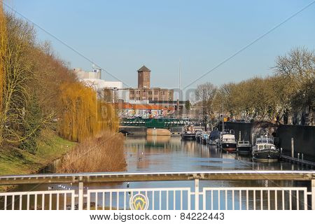 Ships On A River In The Dutch City Of Den Bosch